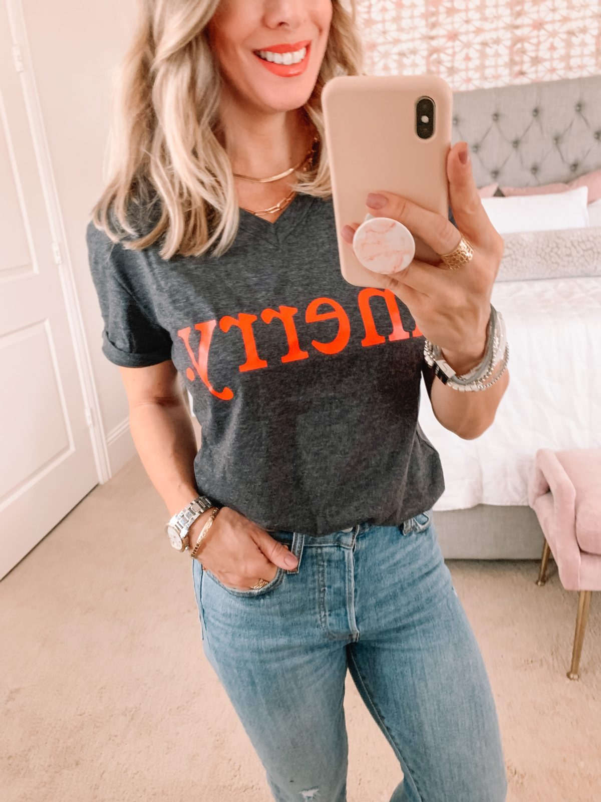Amazon Fashion Faves, Merry Tee, Jeans, Flats