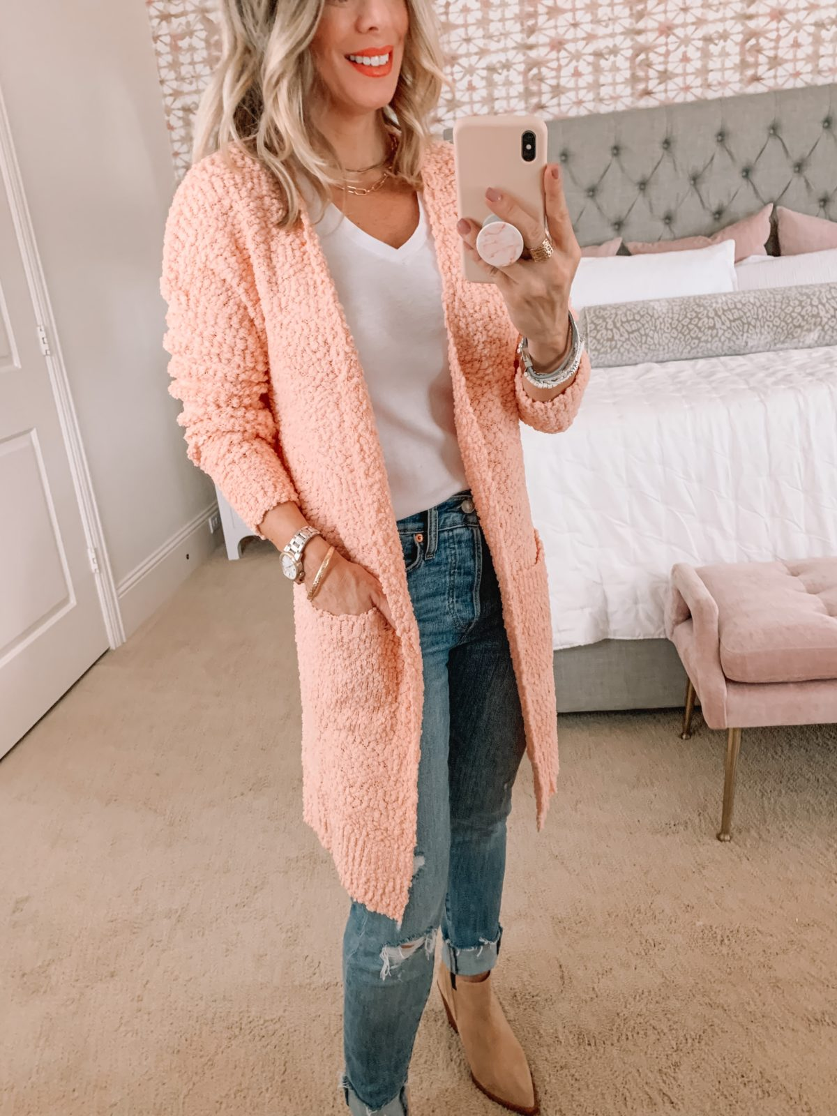 Amazon Fashion Faves, Tee, Cardigan, Jeans, Booties