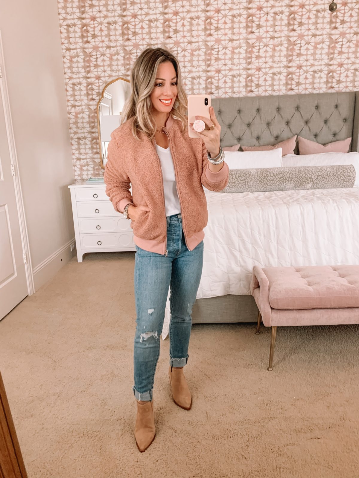 Amazon Fashion Faves, Tee, Jacket, Jeans, Booties