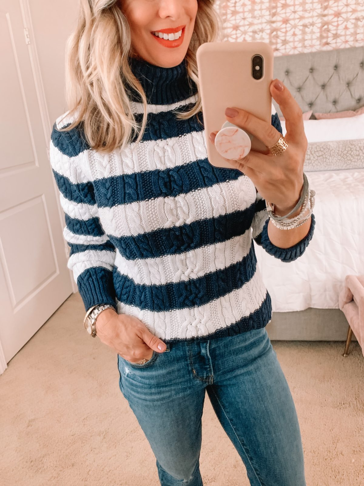Amazon Fashion Faves, Striped Sweater, jeans, Booties