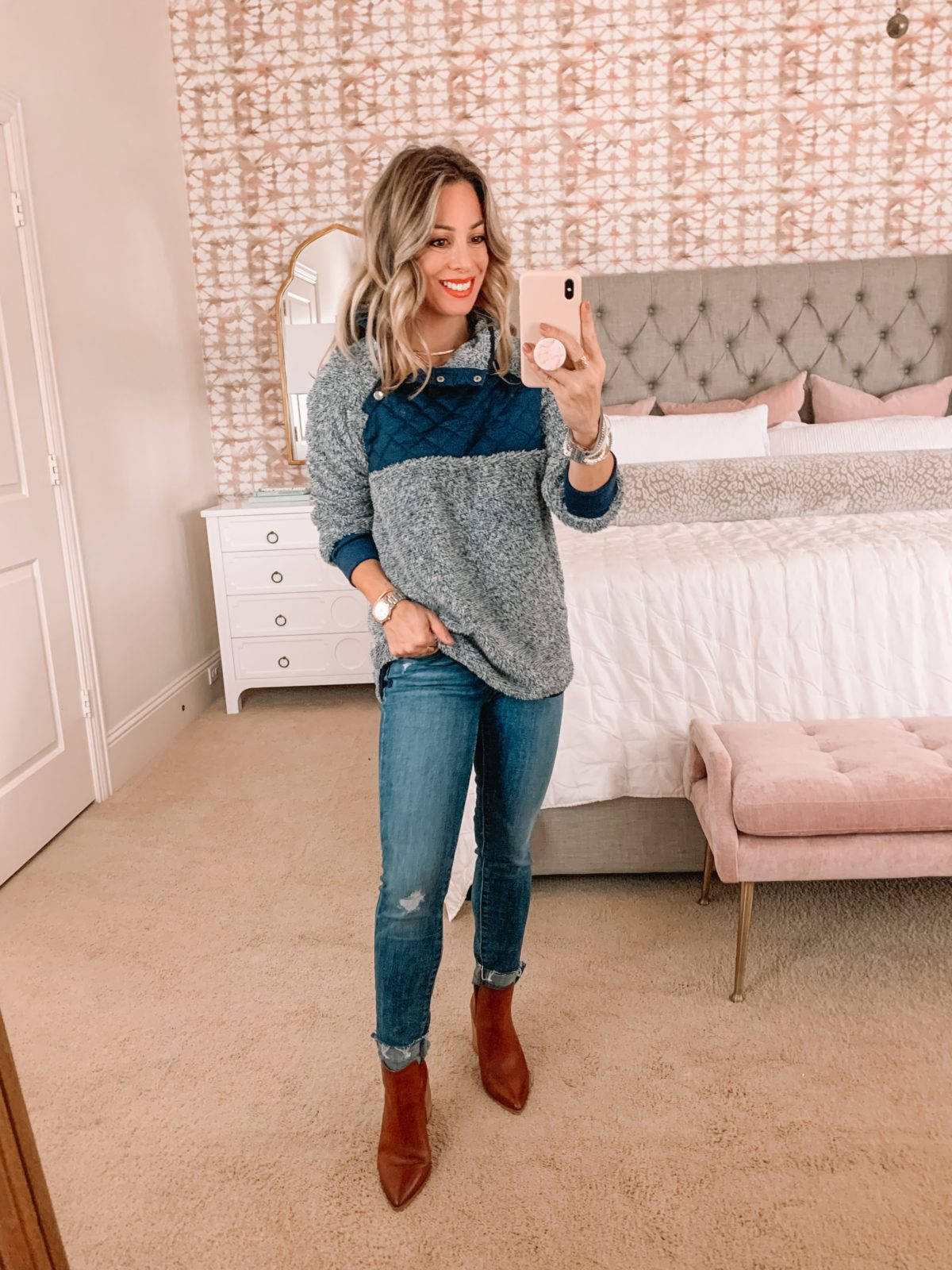 Amazon Fashion Faves, pullover, jeans, booties