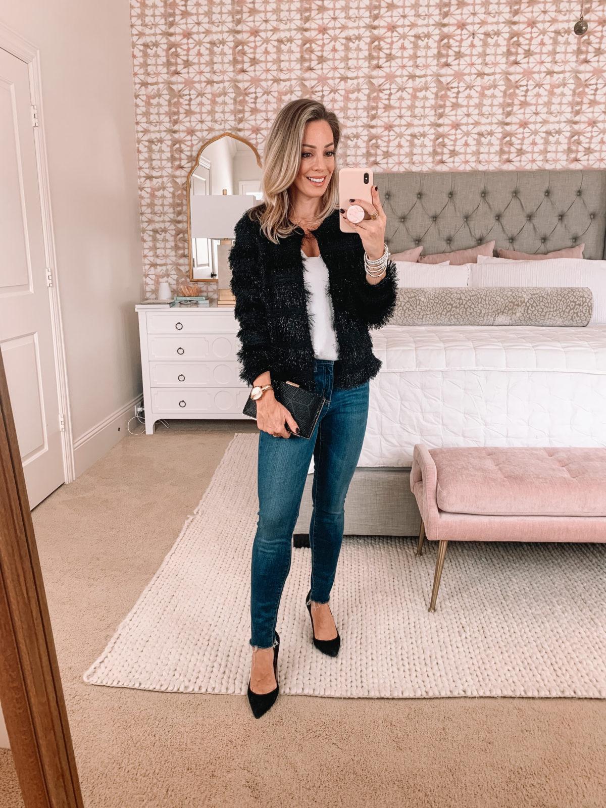 Dressing Room Nordstrom, Fringe Jacket, Jeans, heels