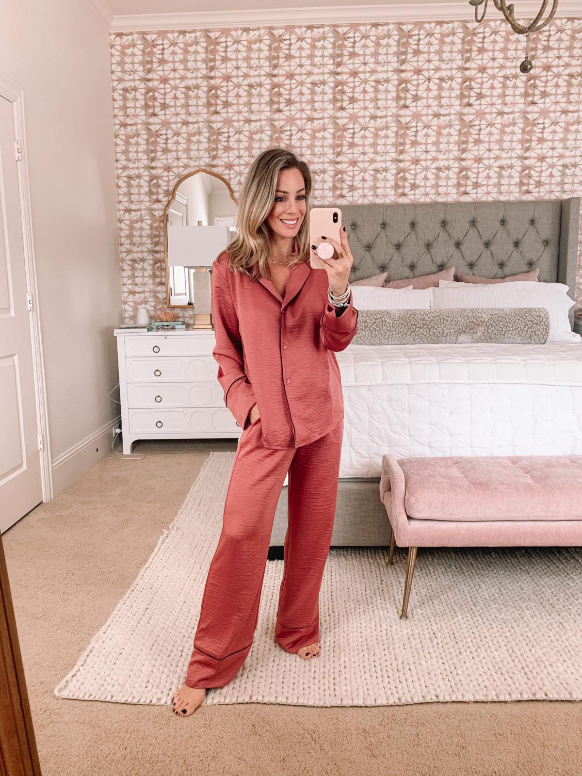 mens style pajama set for women