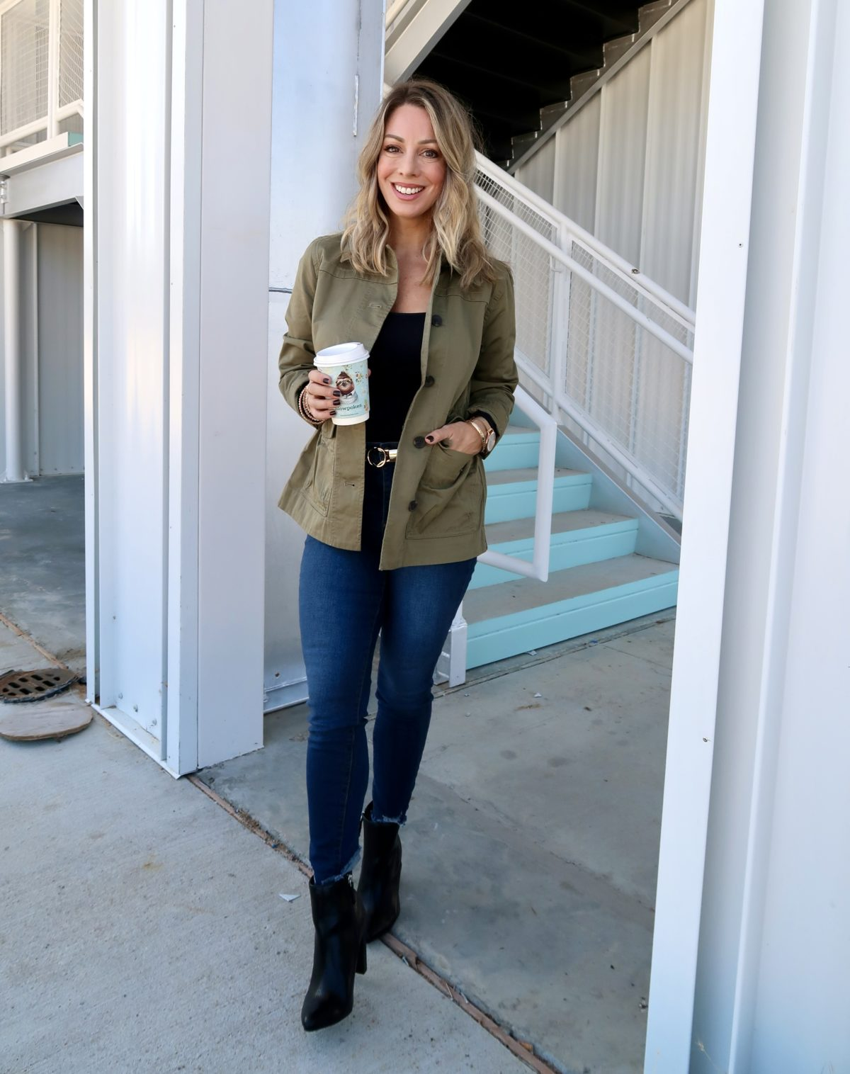 Walmart Fashion Finds, Bodysuit, Military Jacket, Jeans, Booties