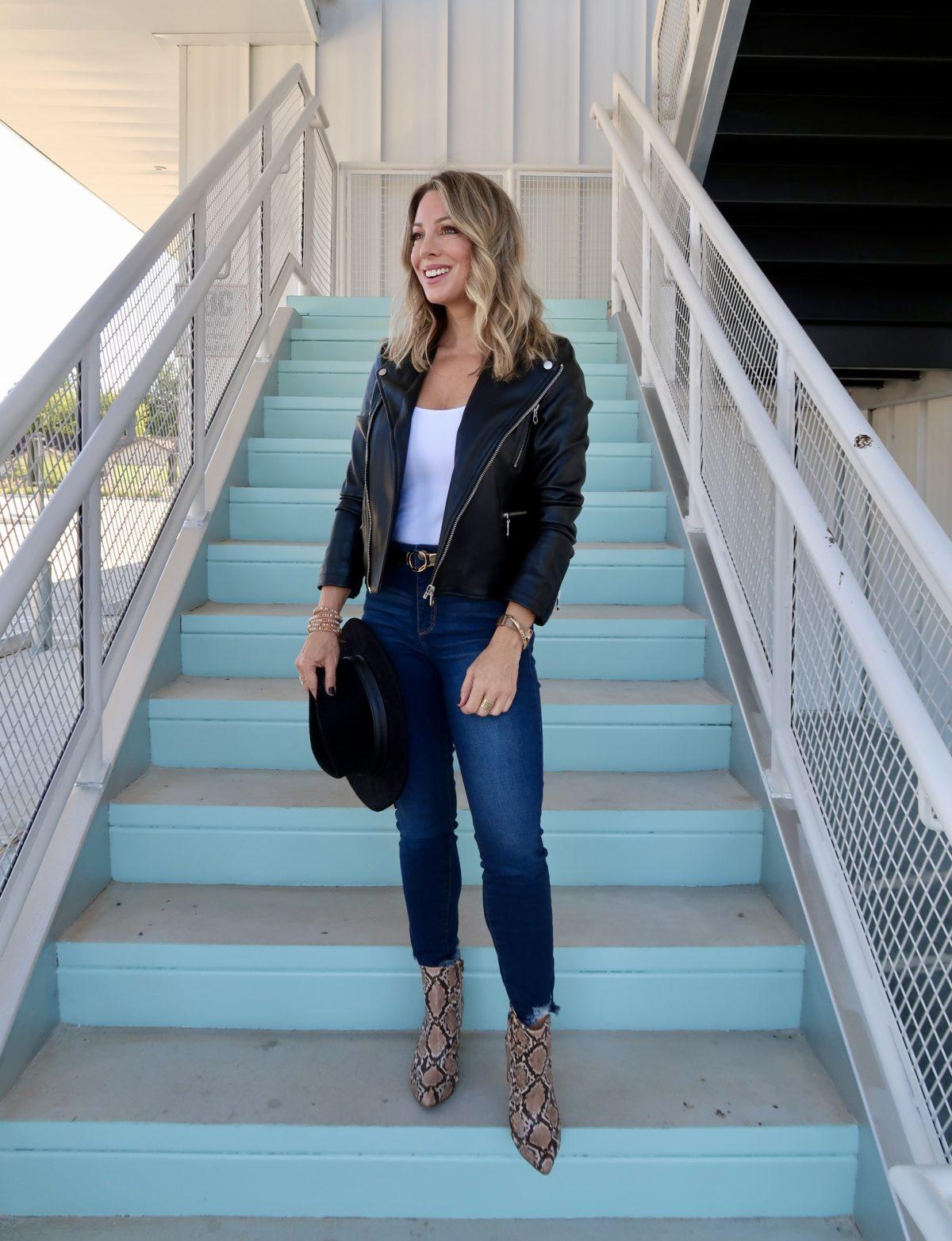 Walmart Fashion Finds, Faux Leather Jacket, Bodysuit, Jeans, Booties