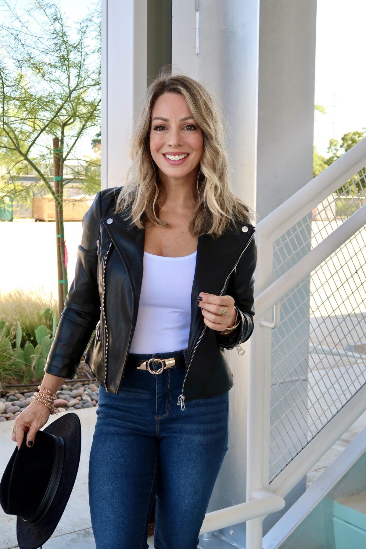Walmart Fashion Finds, Bodysuit, Jeans, Hat, Jacket