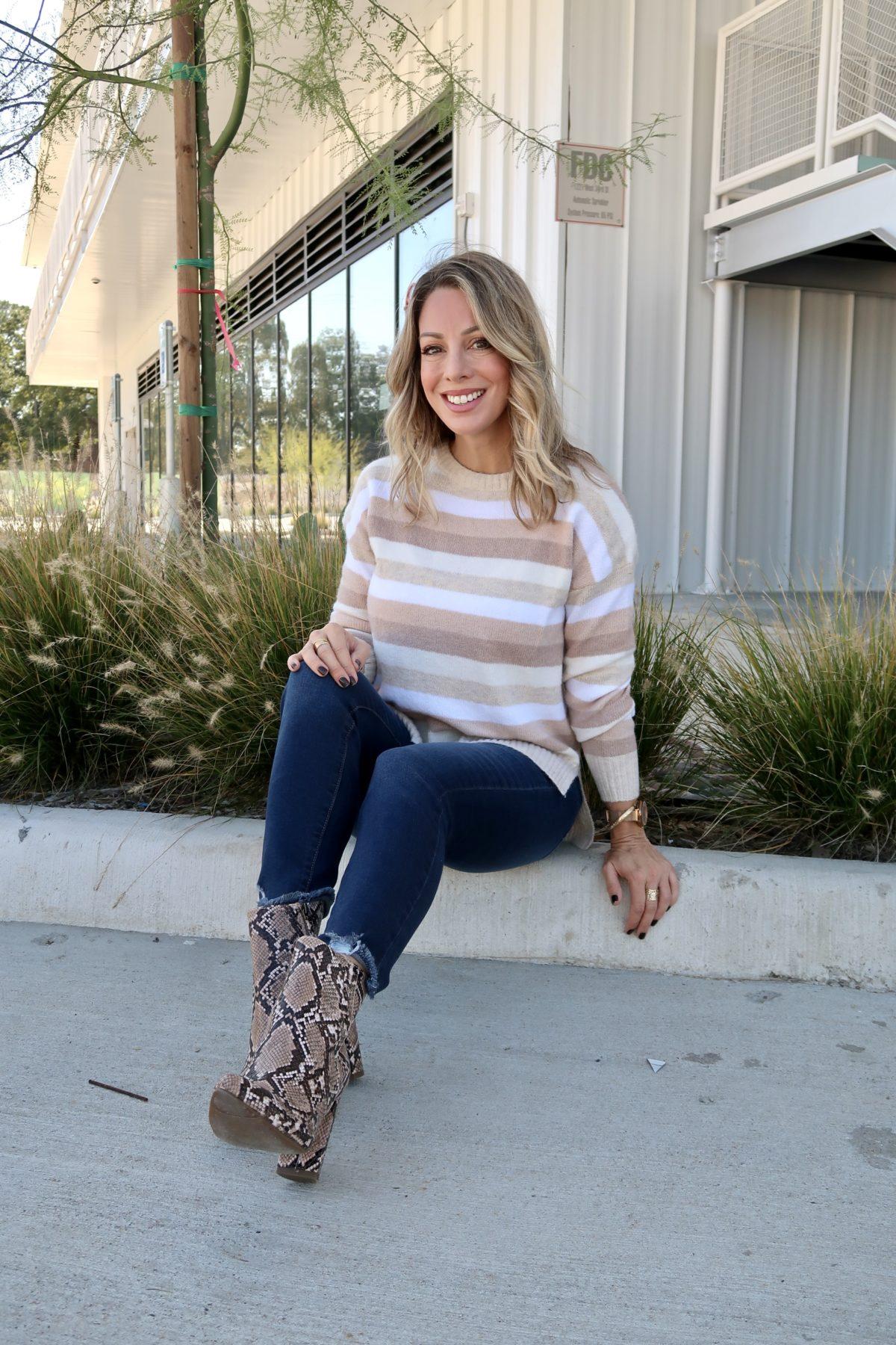 Walmart Fashion Finds Stripe Sweater, Jeans, Snakeskin Booties