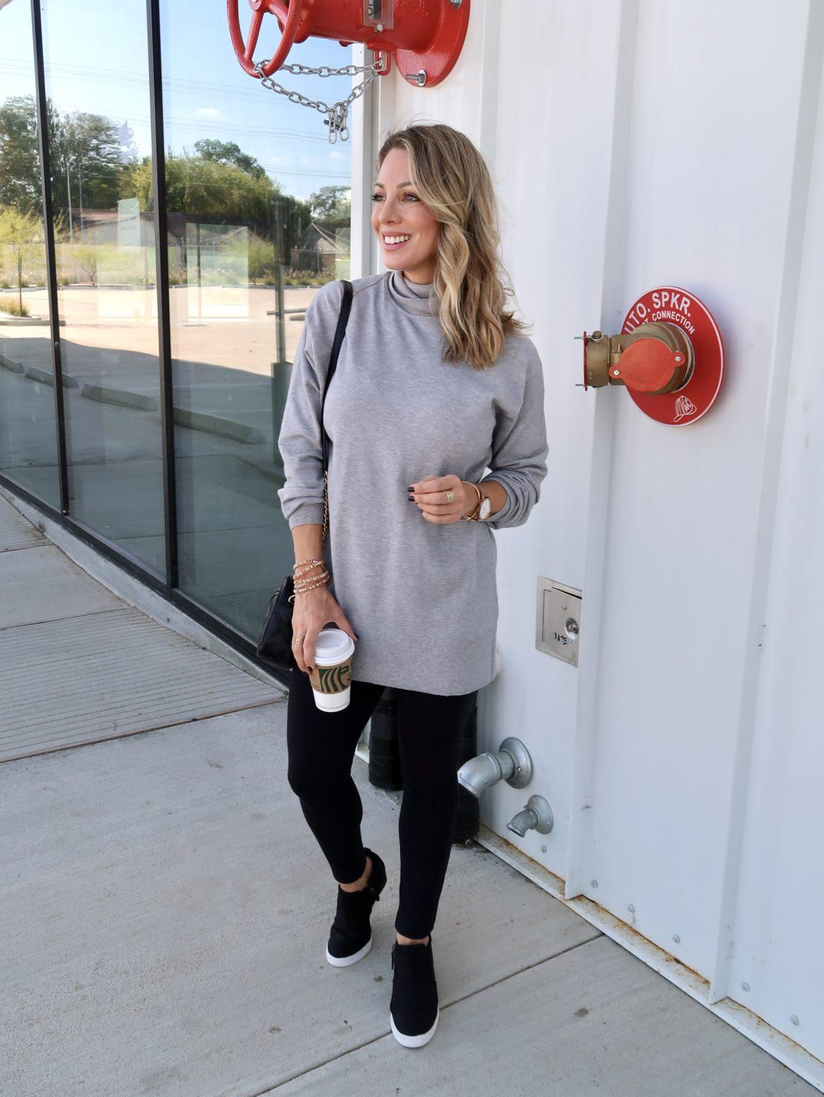 Walmart Fashion Finds, Tunic Top, Leggings, Wedge Sneakers