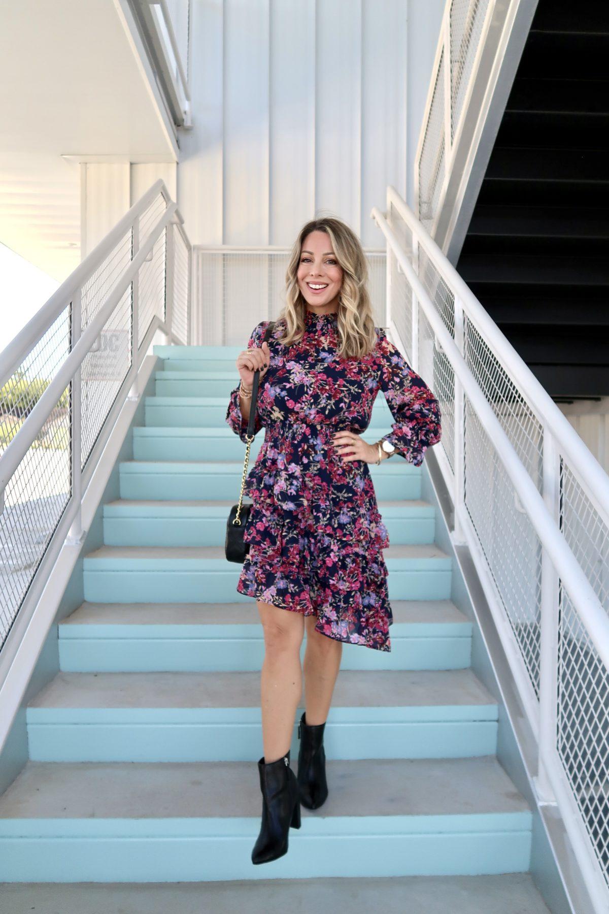 Walmart Fashion FInds, Floral Asymmetrical hem Dress, Booties