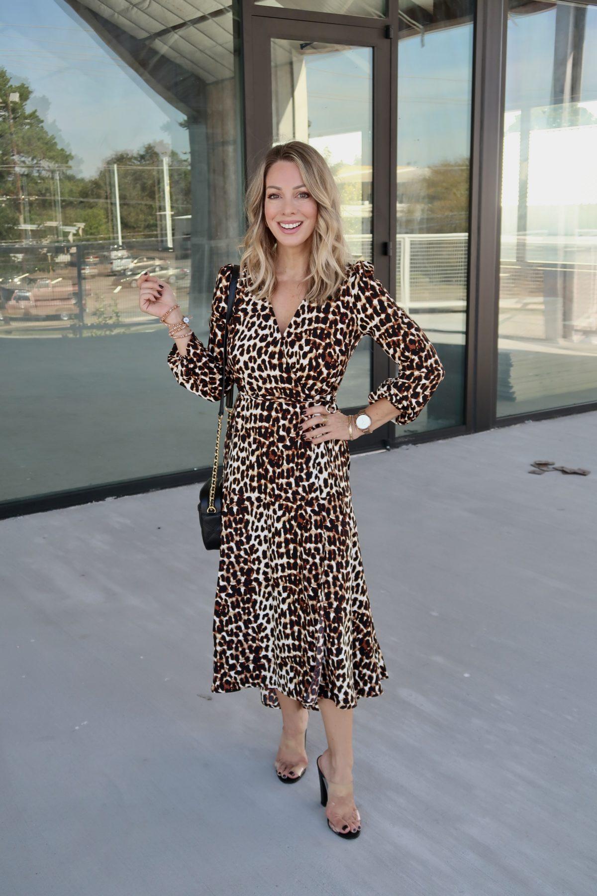 Walmart Fashion Finds, Leopard Dress, Clear Heels