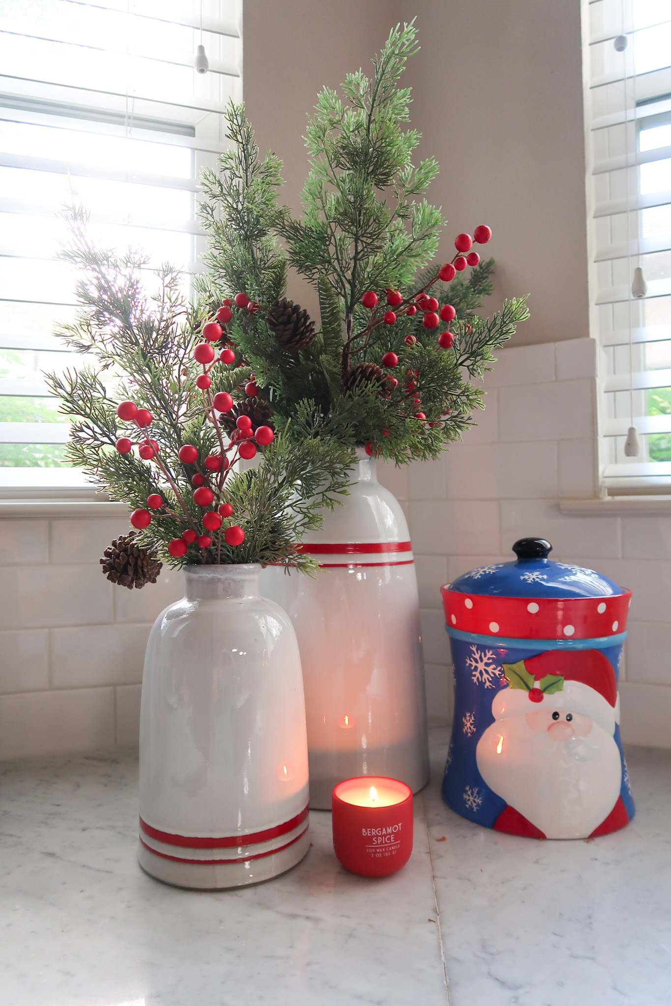 Christmas Home Tour, Target Striped Vases, Greenery, Santa Cookie Jar, Candle