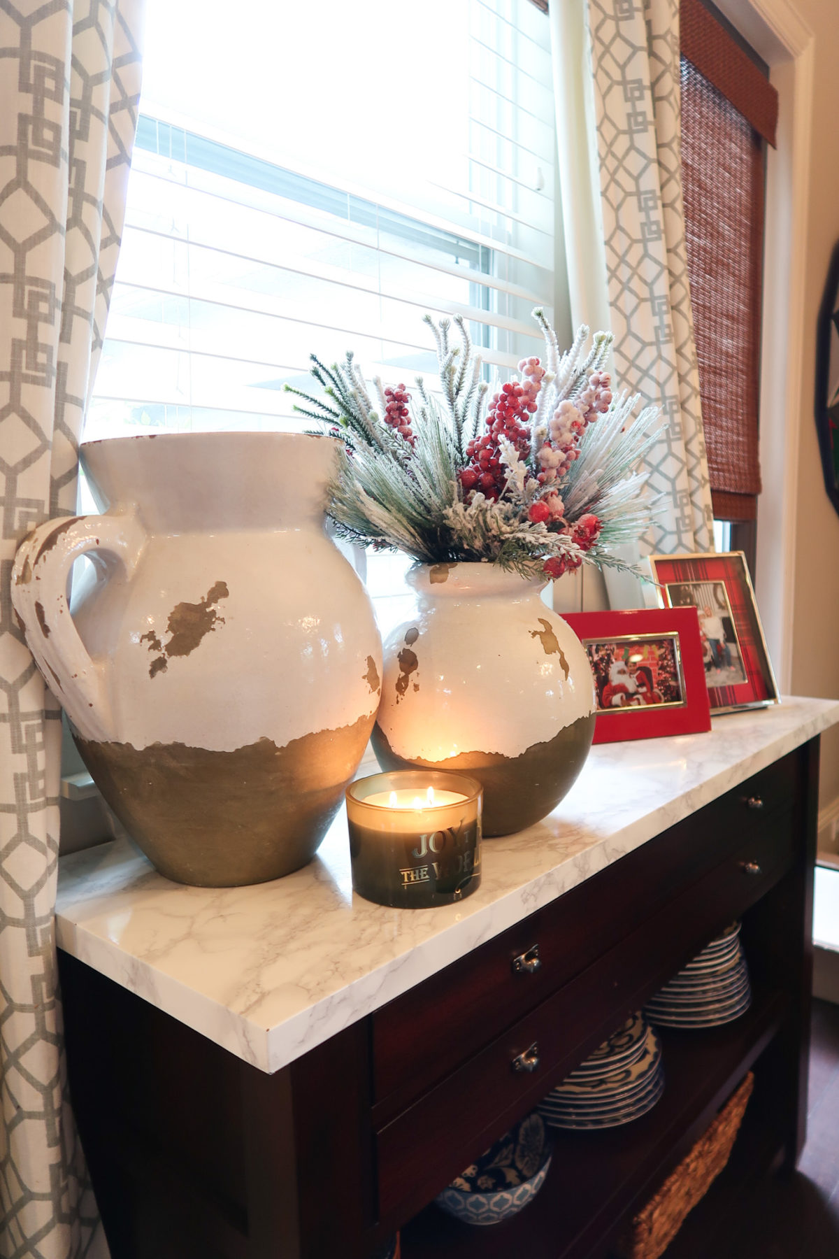 Christmas Home Tour, Jug Vases, Greenery, Joy Candle, Plaid Picture Frames