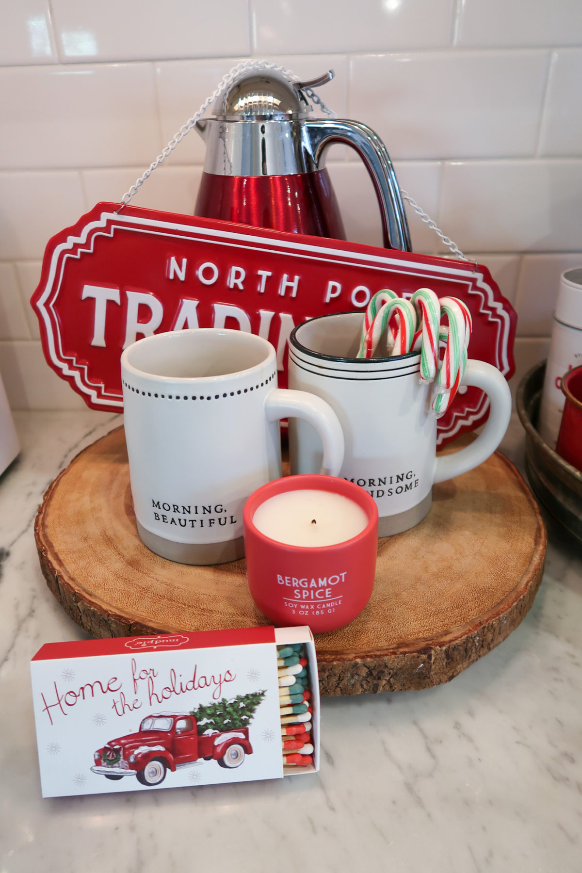 Christmas Home Tour, Hot Cocoa Bar, Mugs, Candle, Matches