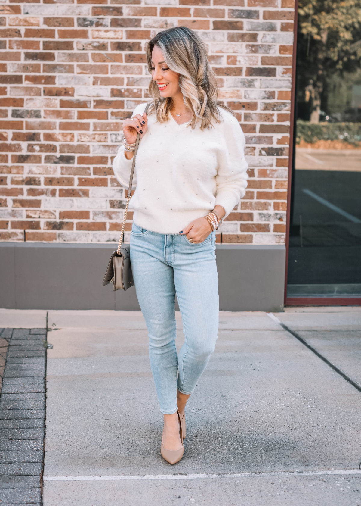 Express Fashion, Jeweld Sweater, Skinny Jeans, Nude Heels