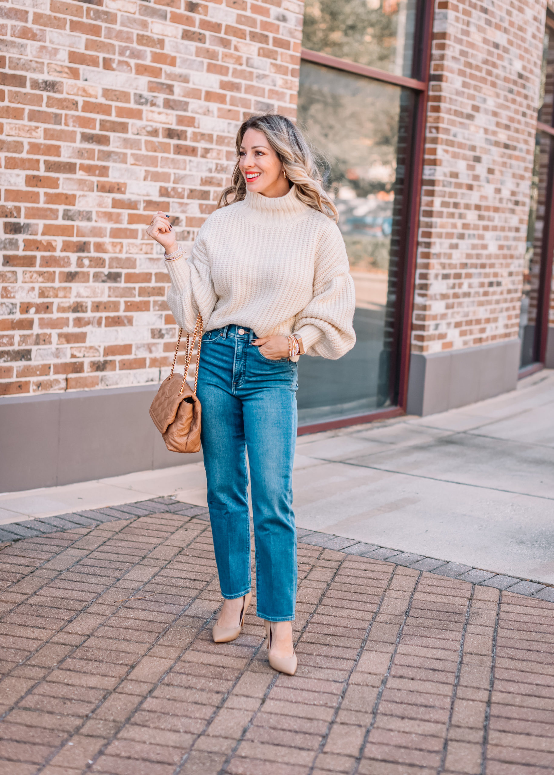 Express Fashion, Balloon Sleeve Sweater, Jeans, Nude Heels