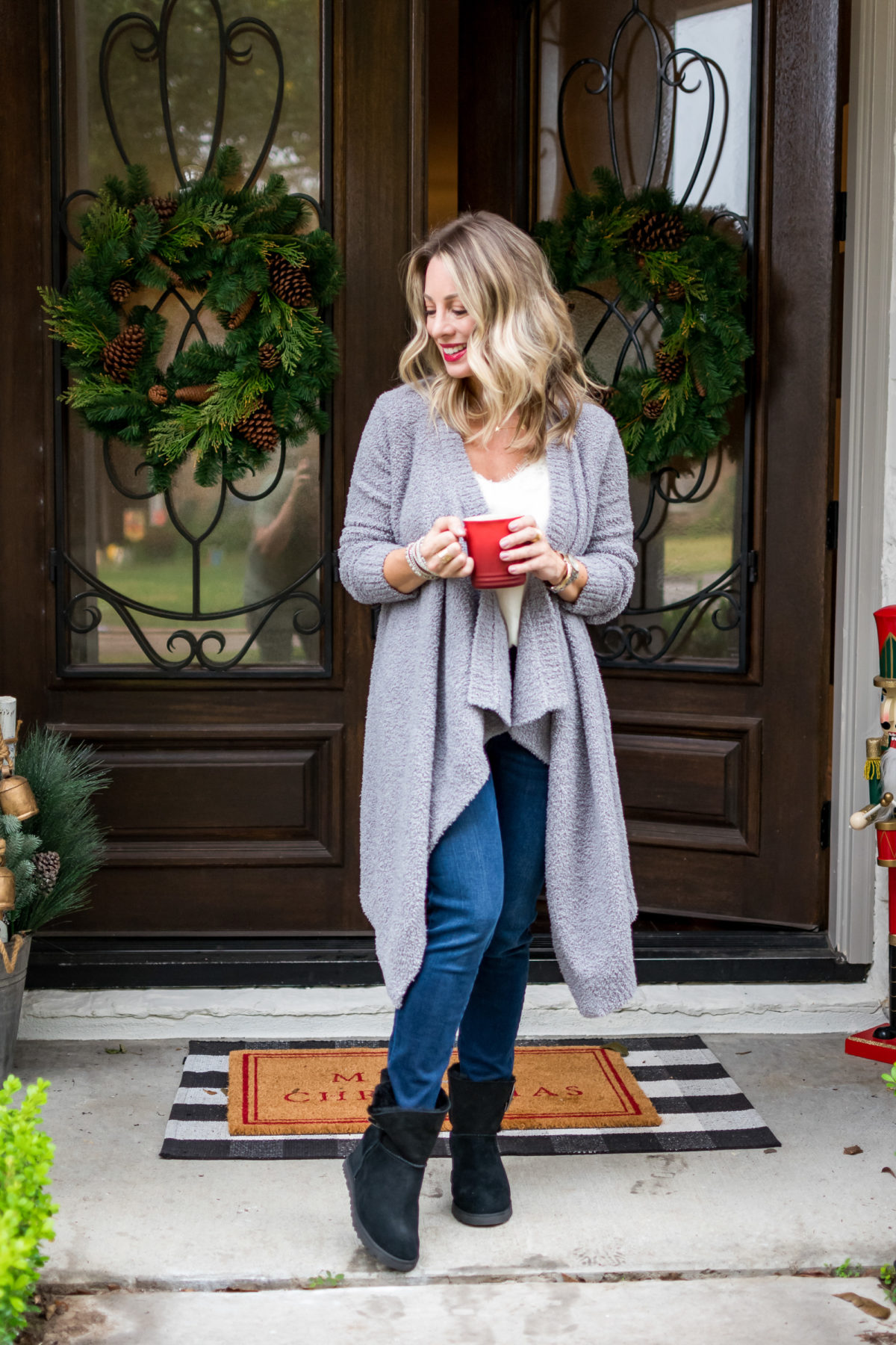 UGG cardigan and boots for her