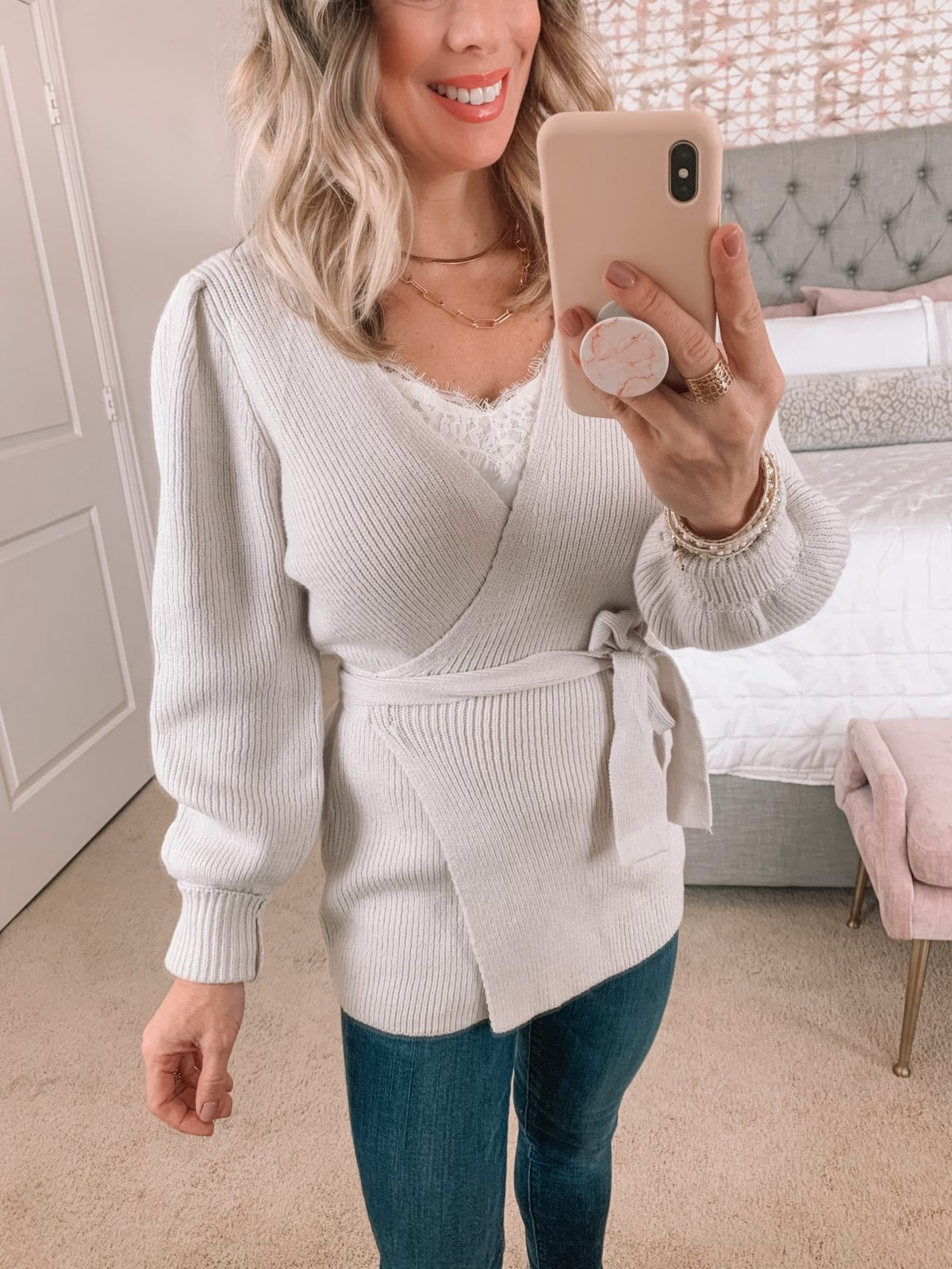 Amazon Fashion Faves, Wrap Sweater, Cami, Jeans