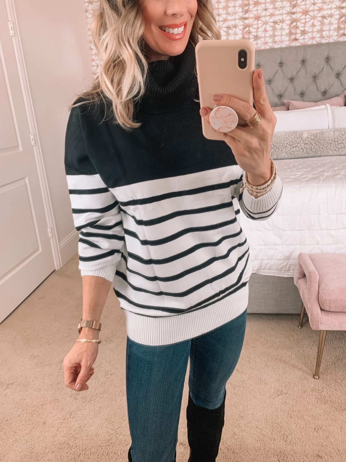 Amazon Fashion Faves, Colorblock Stripe Sweater, Jeans