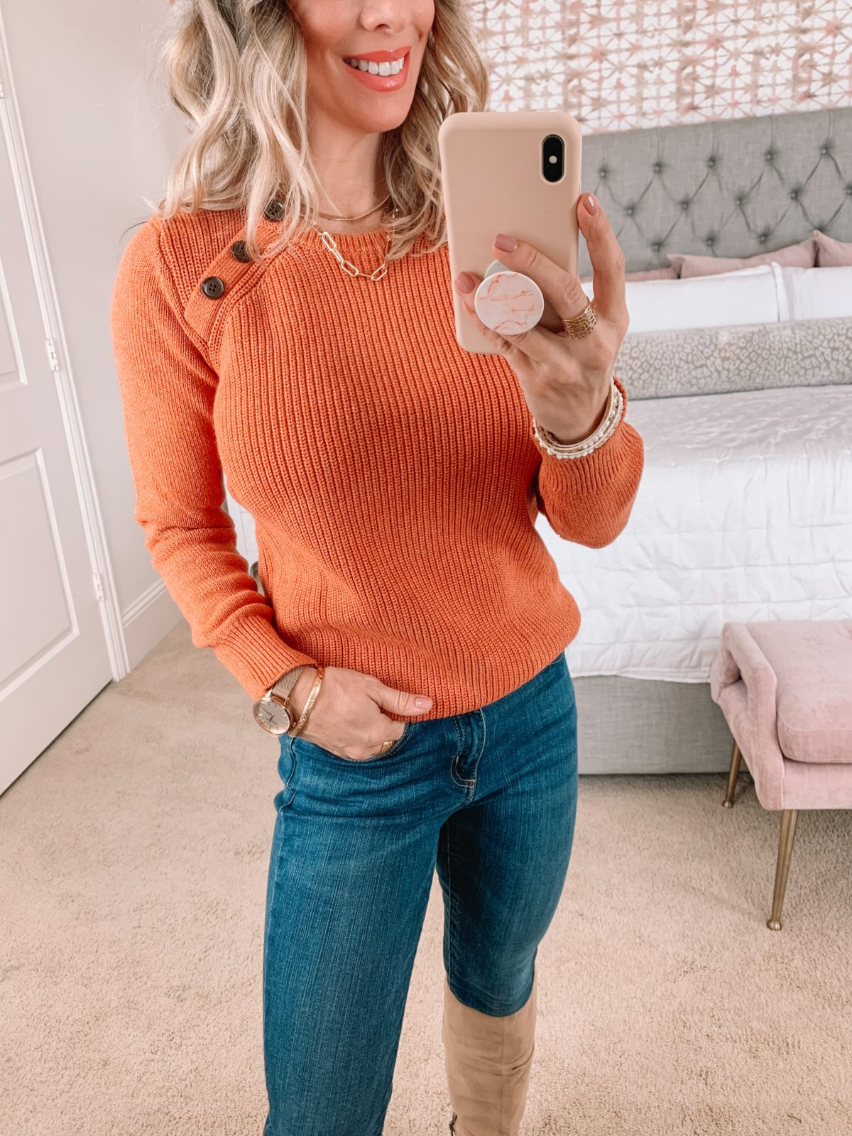 Amazon Fashion Faves, Orange Sweater, Jeans, Boots