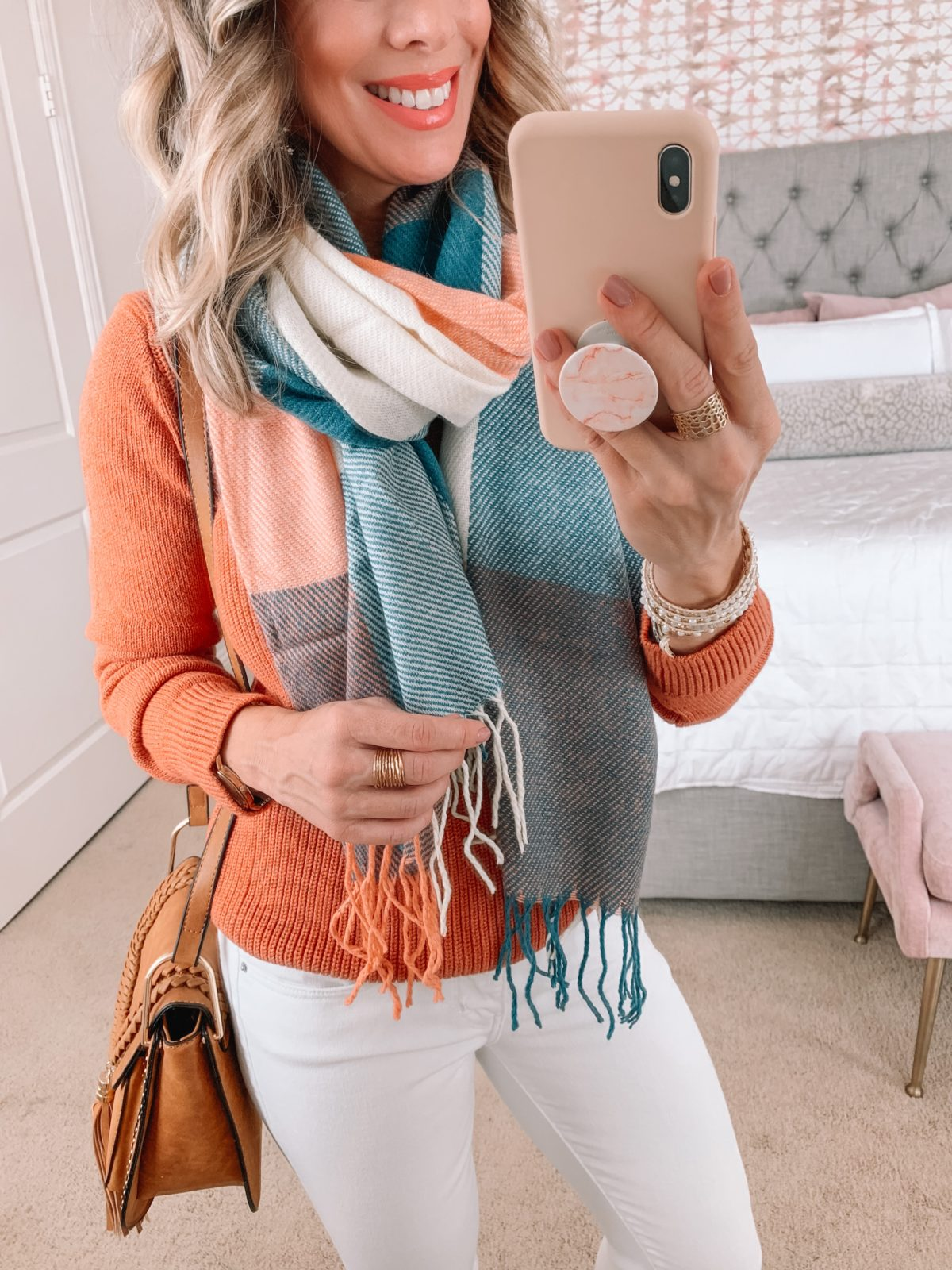 Amazon Fashion Faves, Sweater, Scarf, Skinny Jeans White, Booties