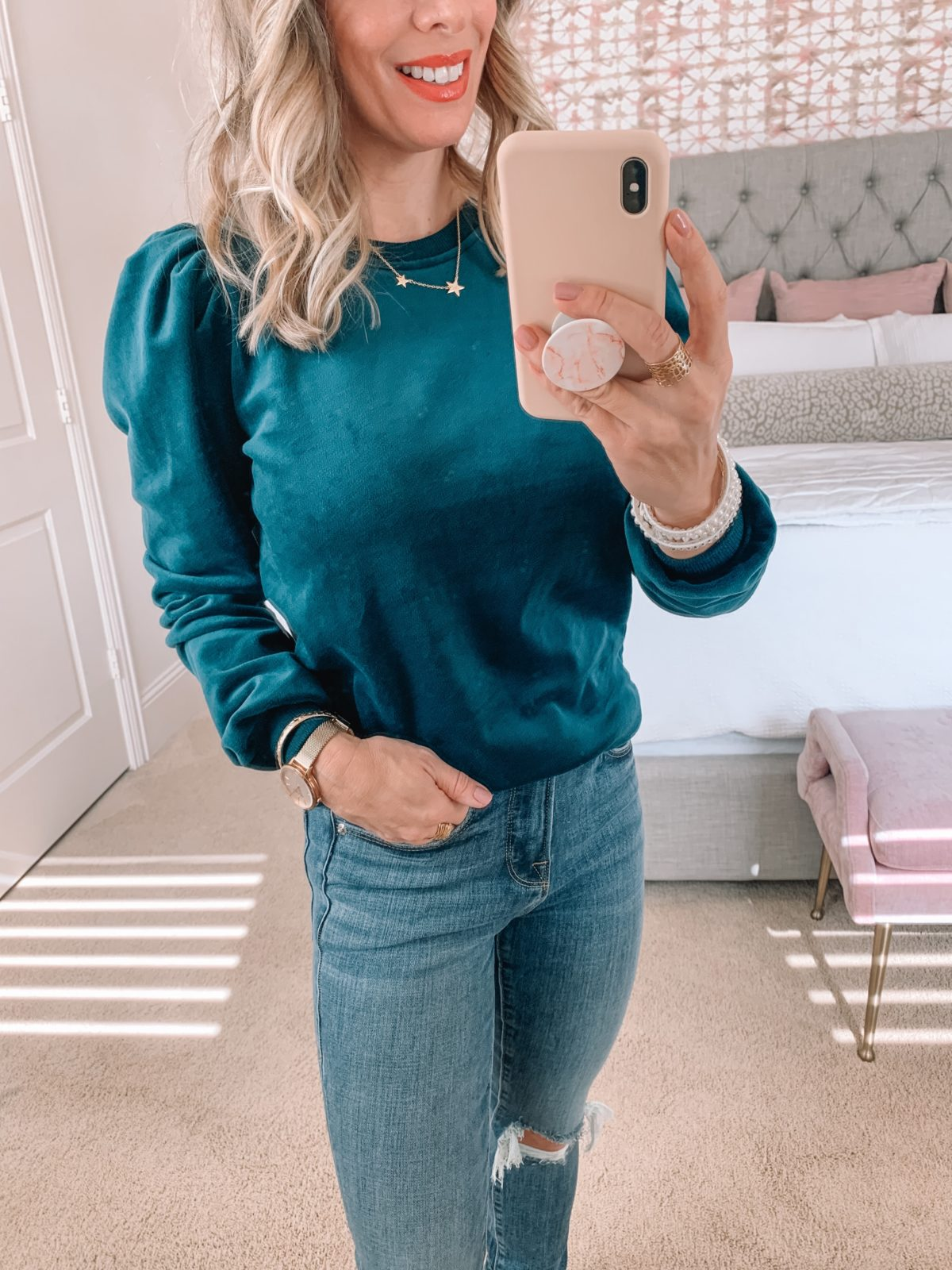 Dressing Room Finds Nordstrom, Velvet top, Good American Jeans, Booties