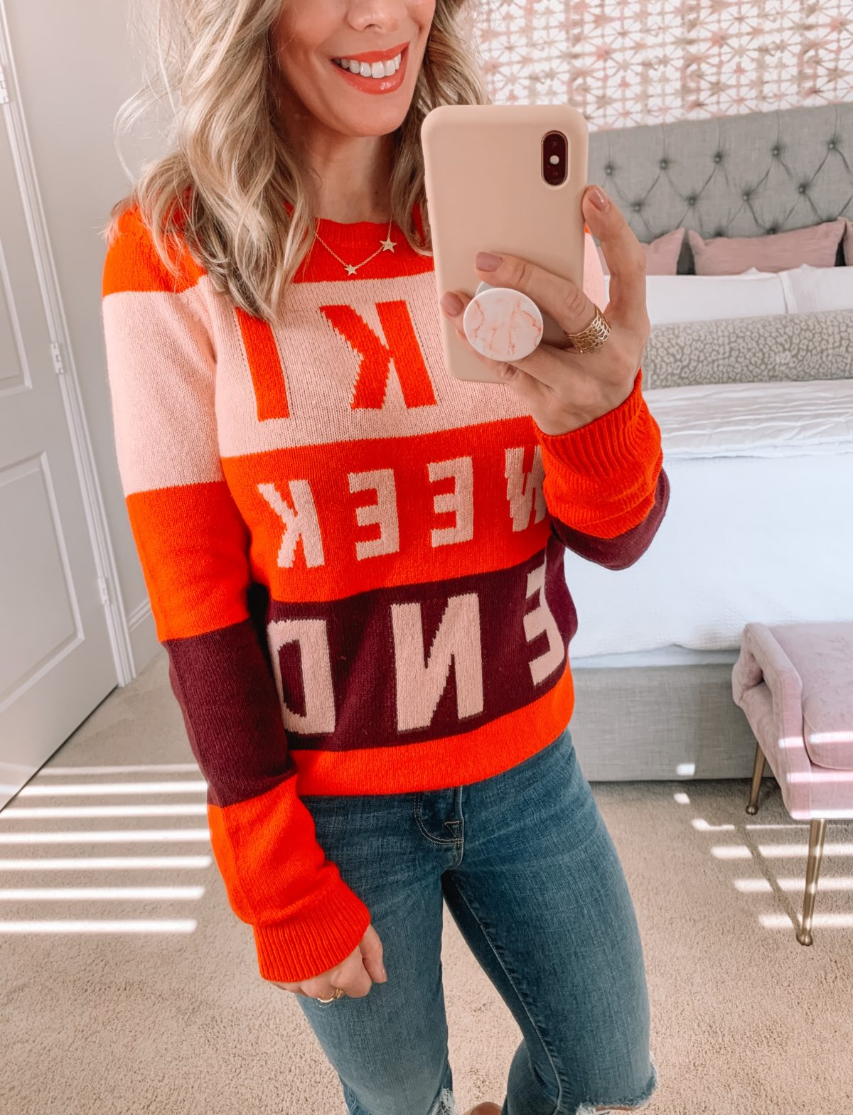 Dressing Room try on Nordstrom, Ski Weekend Sweater, Jeans, Booties