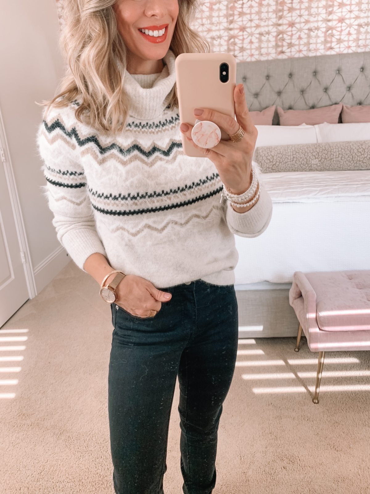 Dressing Room Try On LOFT, Nordstrom, Fair Isle Sweater, Jeans