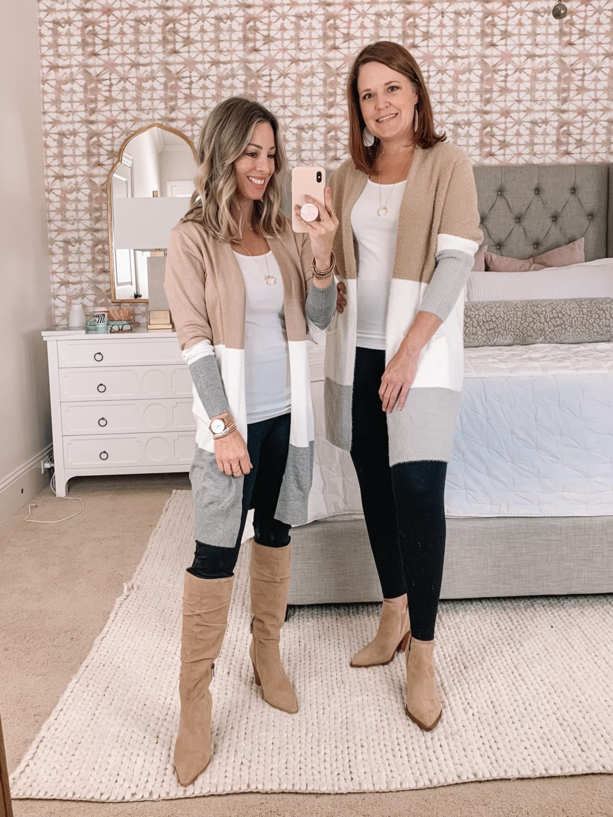 Amazon Fashion Faves, Colorblock Cardigan, leggings, Knee High Boots, Booties