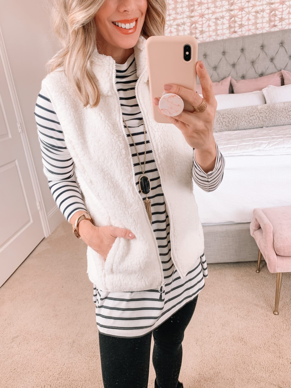Amazon Fashion Faves, Striped Top, Fleece Vest, Ponte Leggings, Ugg Booties