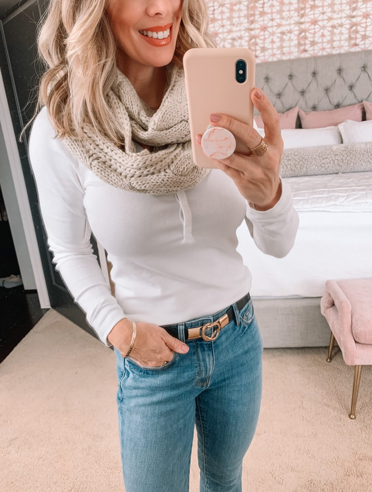 Amazon Fashion Faves, Henley Tee, Infinity Scarf, Belt, Jeans, Booties