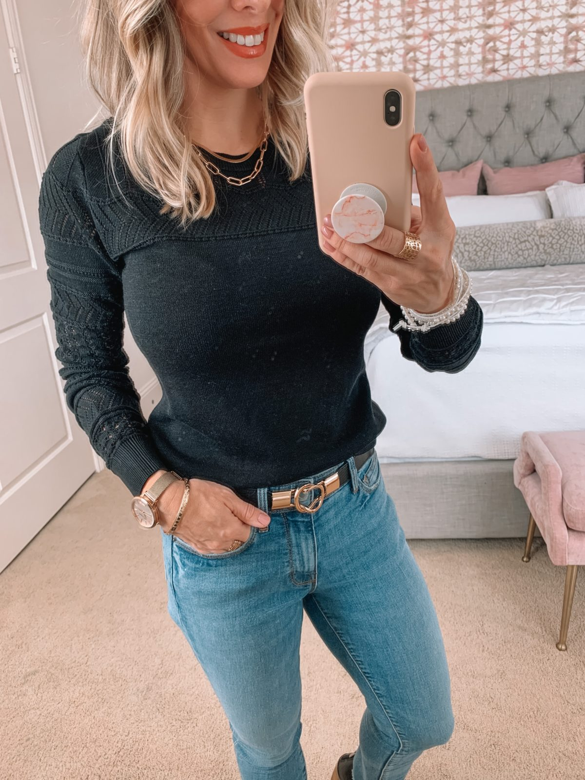 Amazon Fashion Faves, Pontinelle Sleeve Sweater, Jeans, Booties