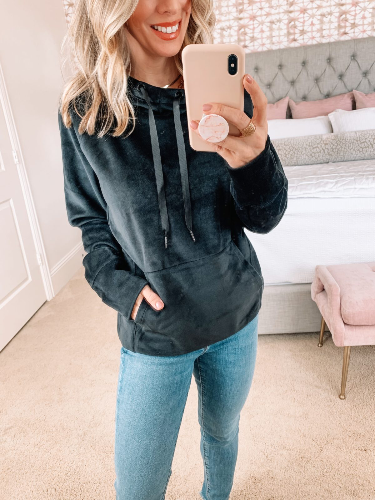 Amazon Fashion Faves, Velvet Pullover, Jeans, Booties