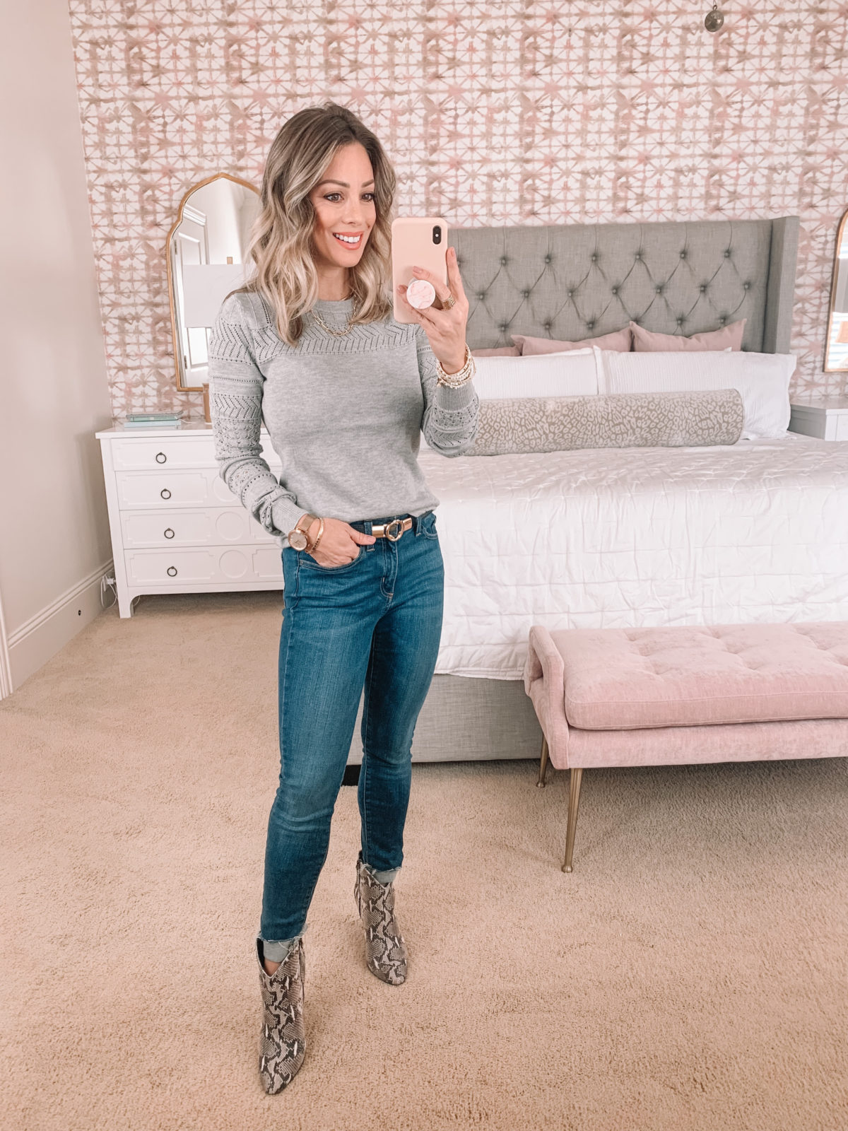 Amazon Fashion Faves, Grey Sweter, Skinny Jeans, Booties