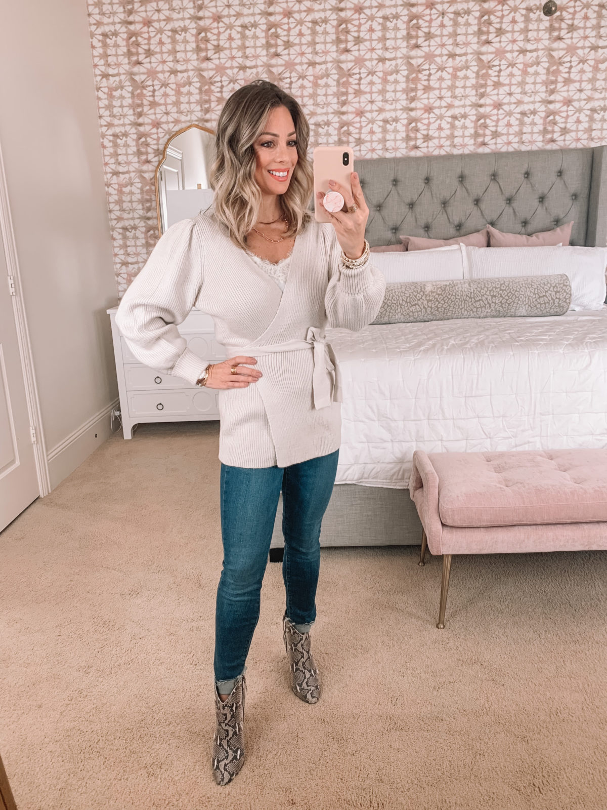 Amazon Fashion Faves, Wrap sweater, Skinny Jeans, Booties