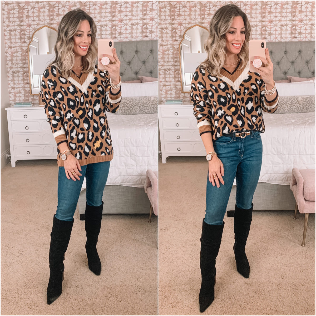 Amazon Fashion Faves, Leopard Sweater, Jeans, Knee High Boots, Skinny Belt