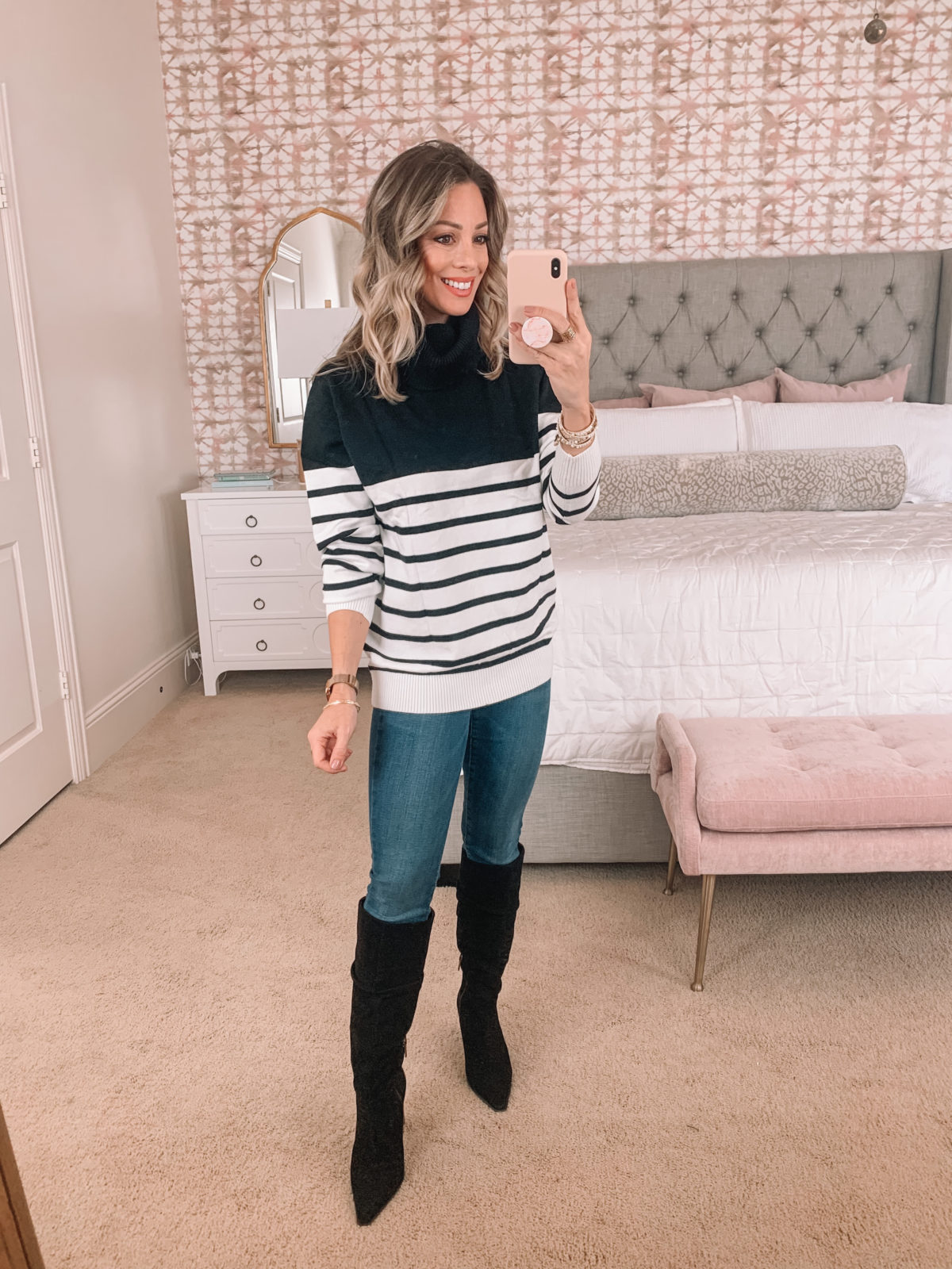 Amazon Fashion Faves, Colorblock Stripes Sweater, Jeans, Boots