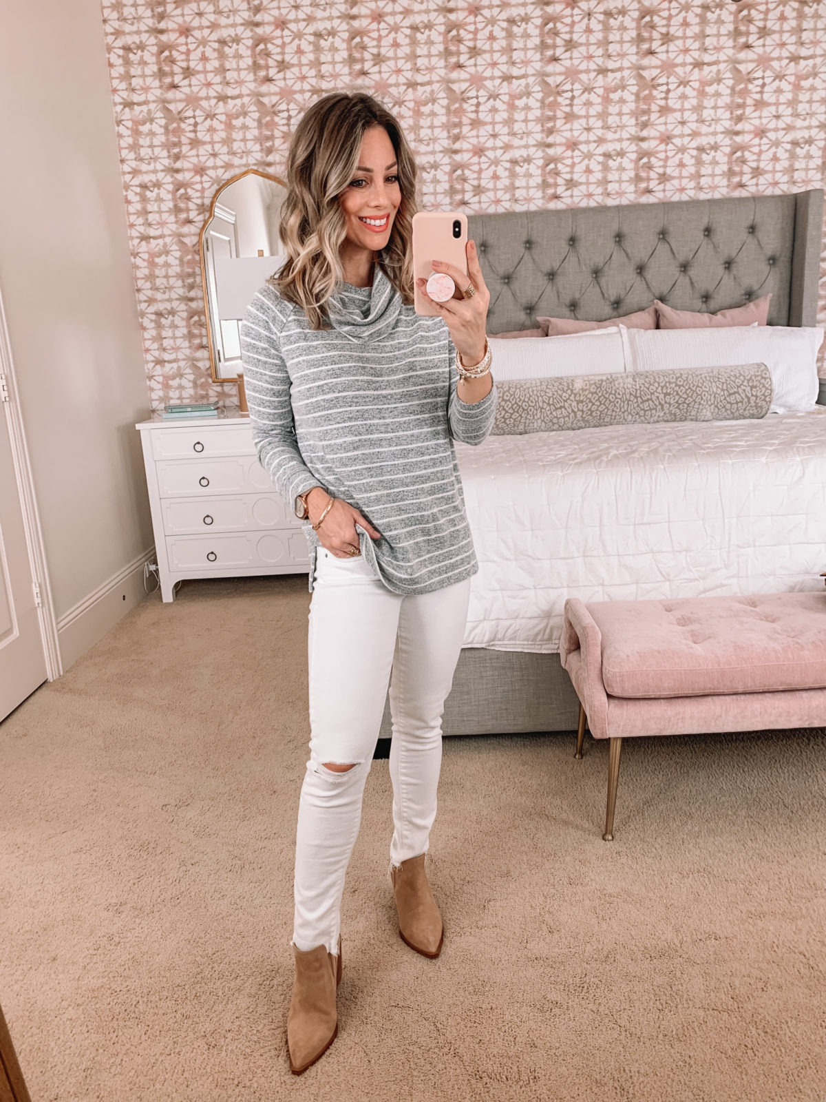 Amazon Fashion Faves, Greay Striped Tunic with Cowl Neck, Jeans, Crossbody