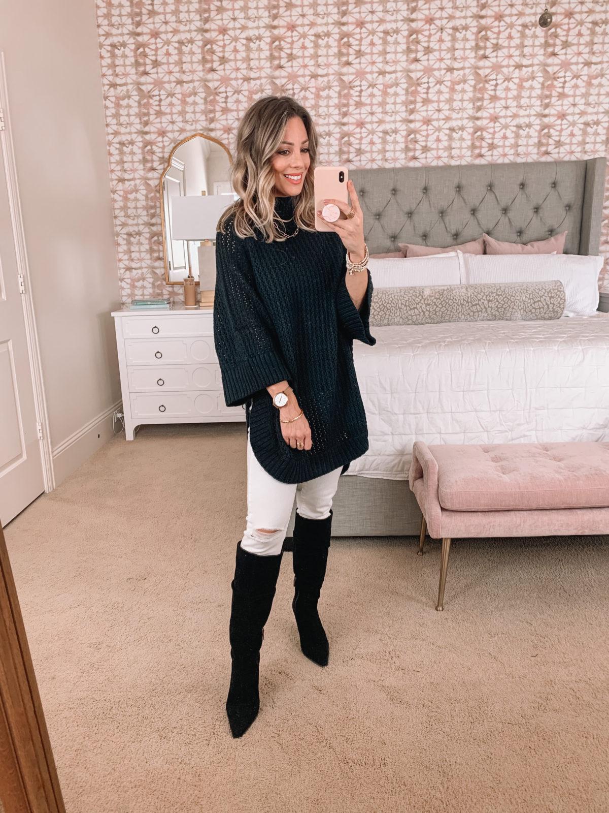 Amazon Fashion Faves, Poncho, White Jeans, Boots