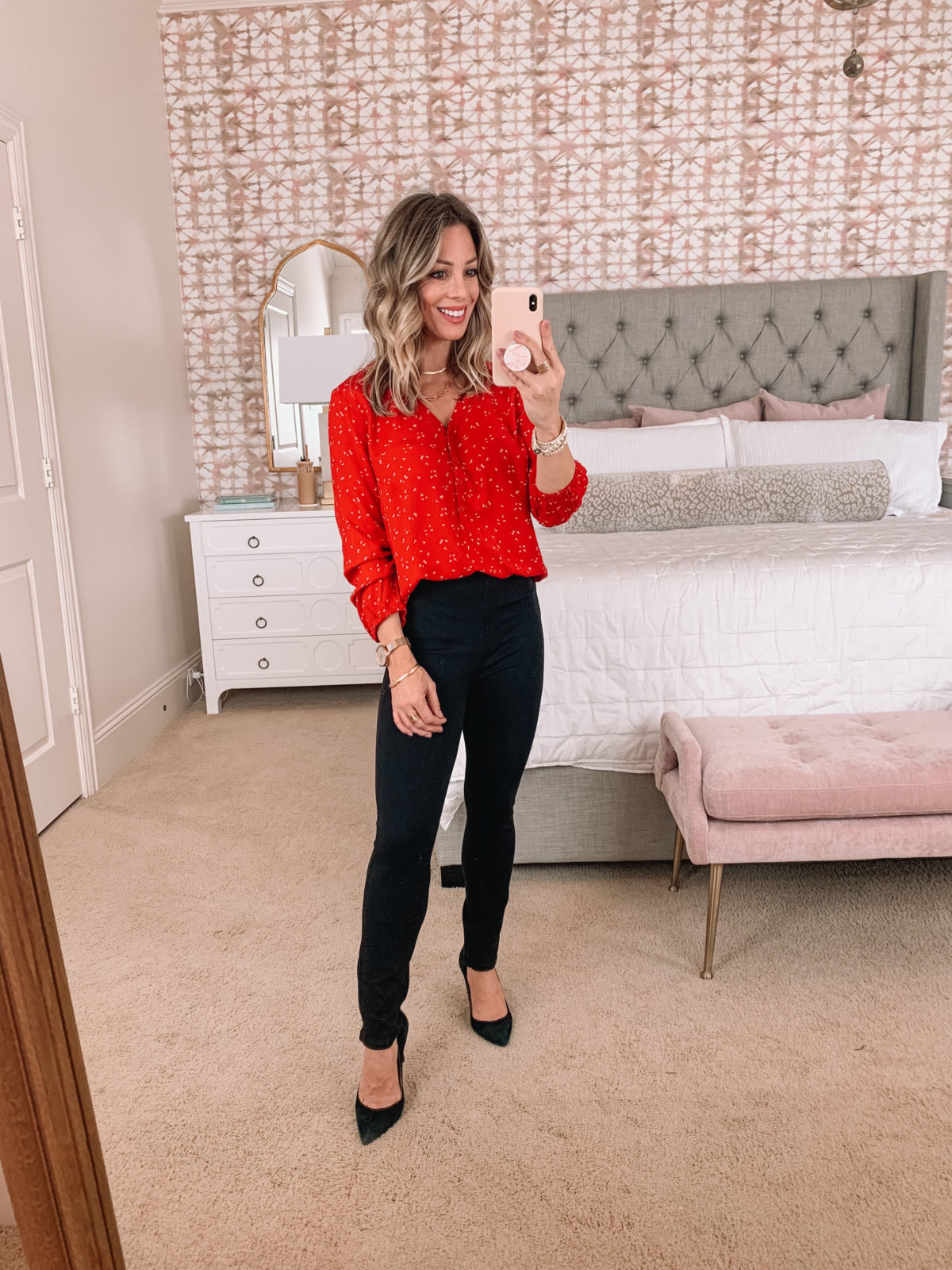Amazon Fashion Faves, Red Blouse, Black Pants, heels