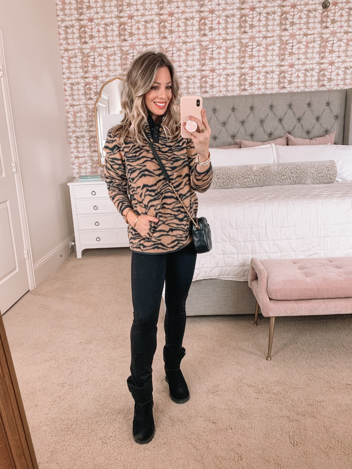 Amazon Fashion Faves, Tiger Stripe Sweater, Pants, Booties, Crossbody