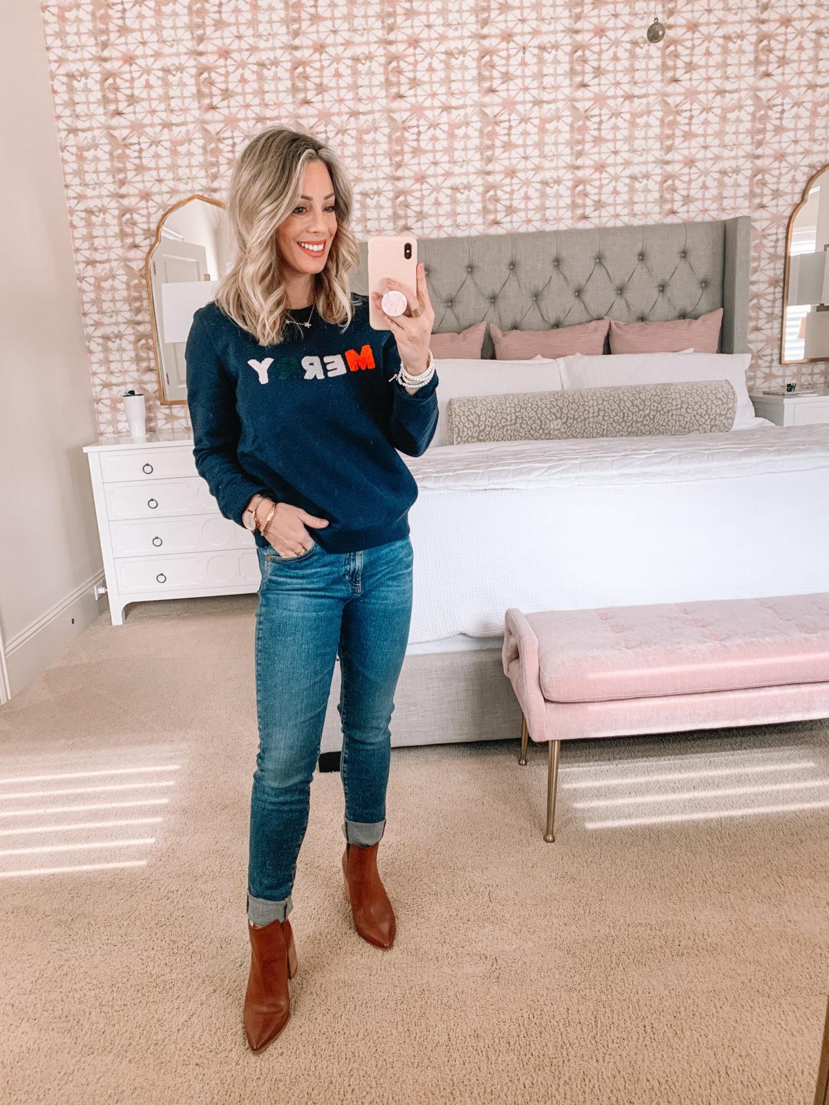 Dressing Room try on Nordstrom, Merry Sweatshirt, Jeans, Booties