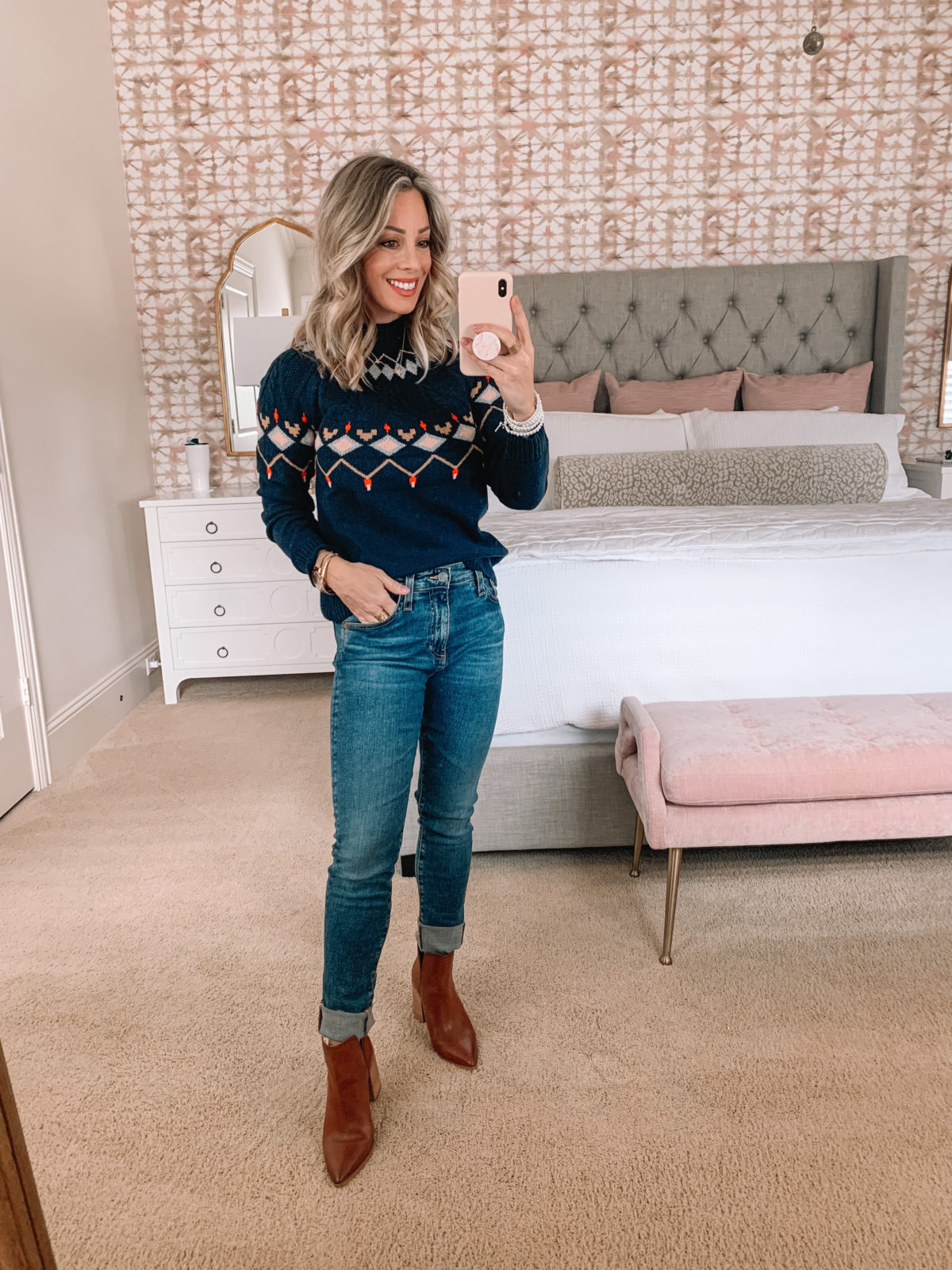Dressing Room try on Nordstrom, Fair Isle Sweater, Jeans, Booties