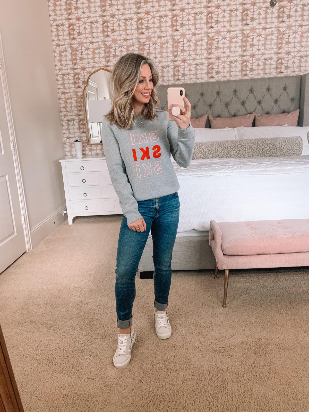 Dressing Room Nordstrom, Ski Sweatshirt, AG High Waist Jeans, Sneakers
