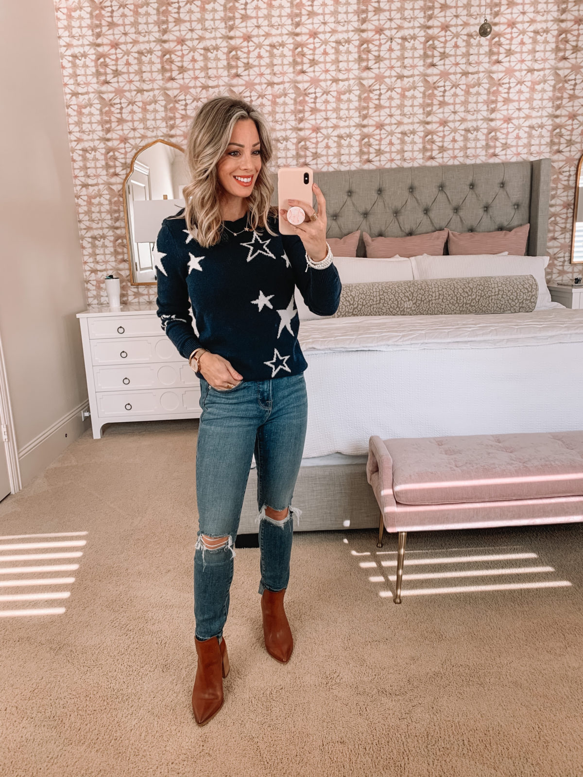 Dressing Room Finds Nordstrom, Star Sweater, Good American Jeans, Booties