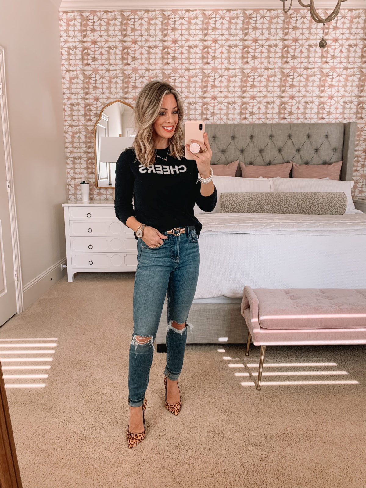Dressing Room Try On Nordstrom, Cheers Sweater, Jeans, Heels