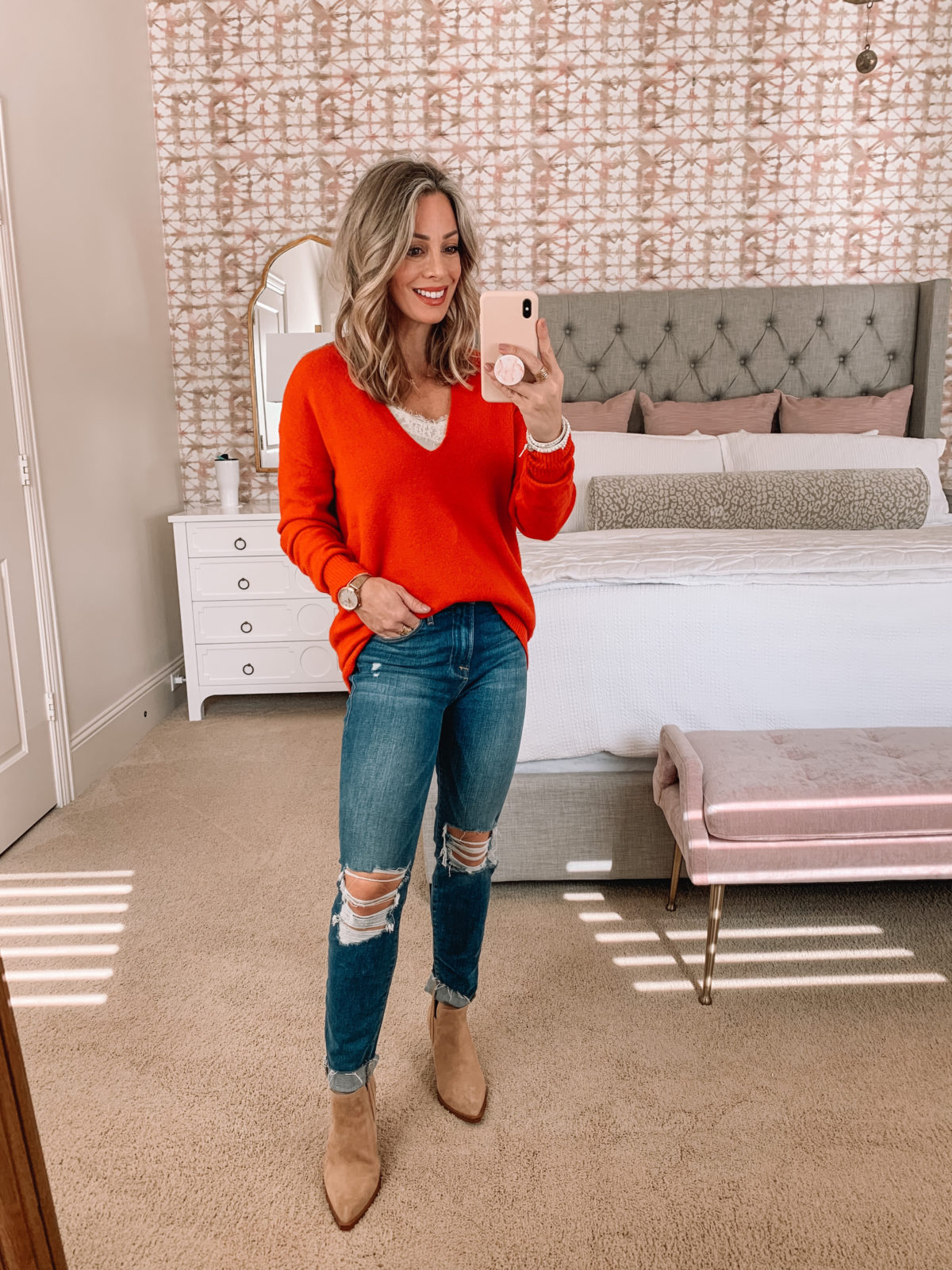 Dressing Room try on Nordstrom, V Neck Sweater, Jeans, Booties