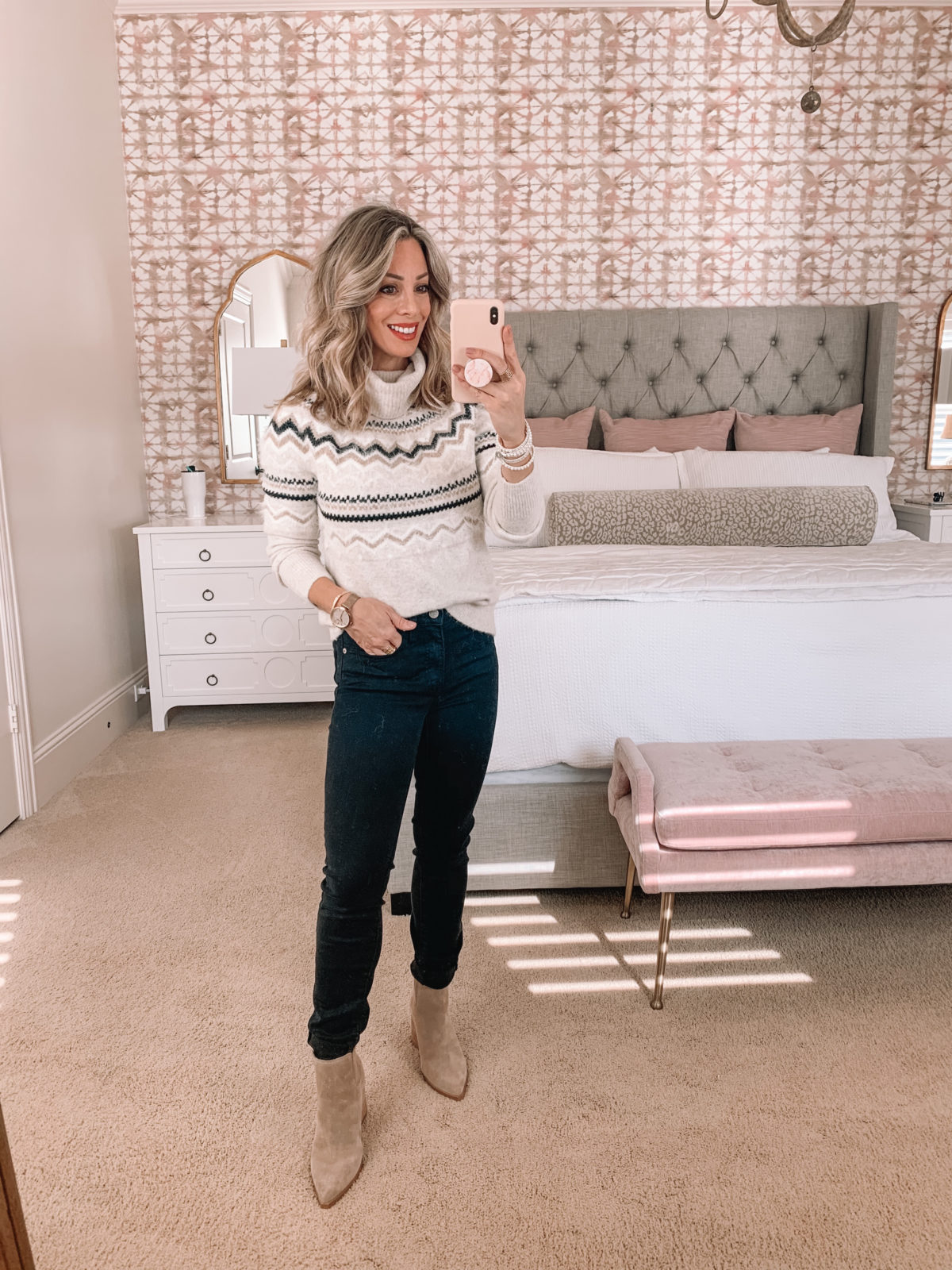 Dressing Room Try On LOFT, Nordstrom, Fair Isle Sweater, Jeans