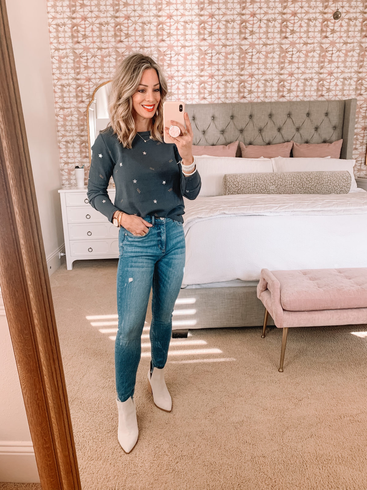 Dressing Room Try On LOFT, NYE Tee, Jeans, Booties