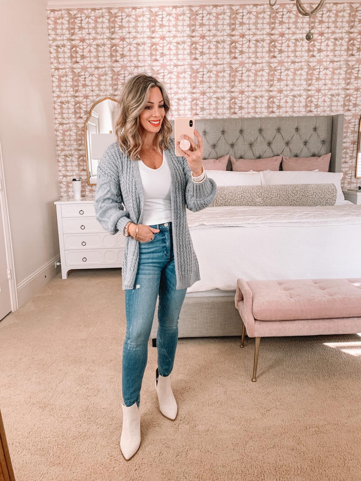 Dressing Room Try On Abercrombie, Target, LOFT, Jeans, Cardigan, Tee, Booties