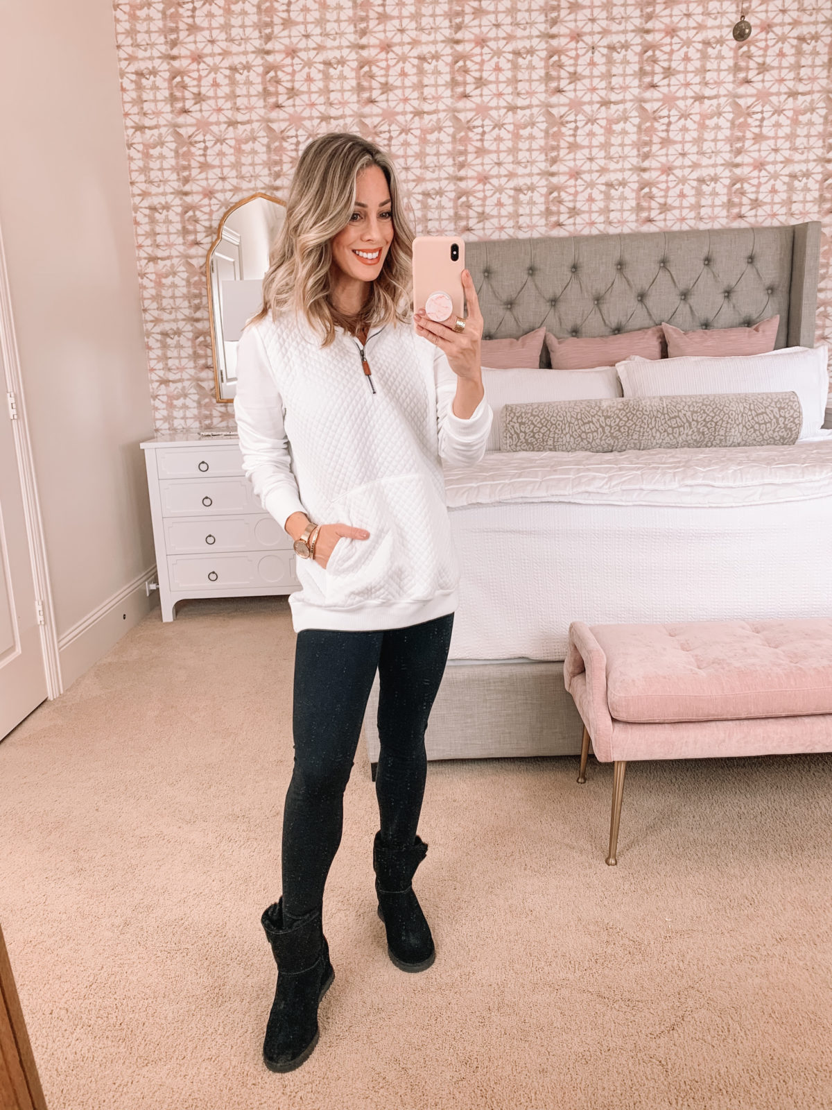 Amazon Fashion Faves, Quilted Sweatshirt, Ponte Leggings, Booties